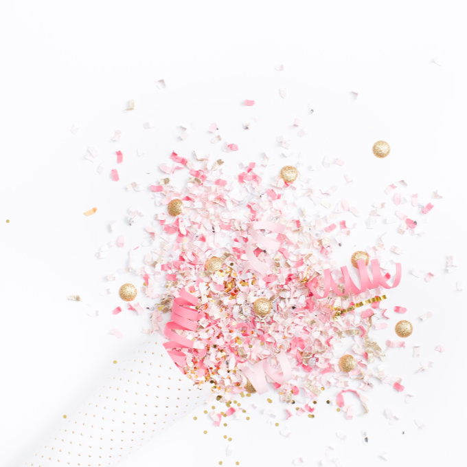 Pink, White and Gold Confetti