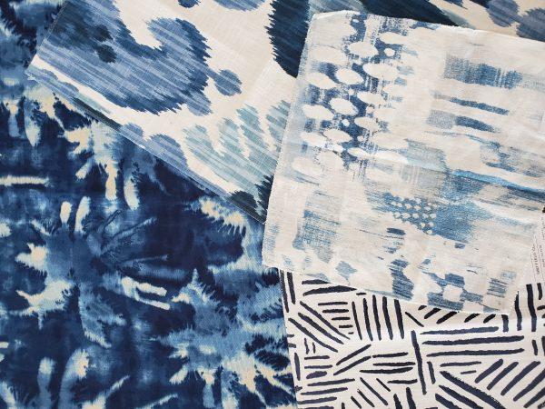 Blue fabric samples