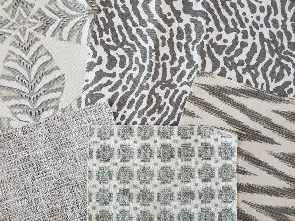 Gray fabric samples