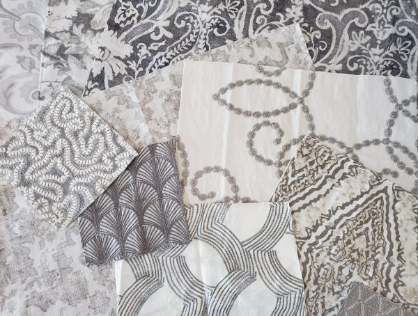 Gray fabric samples with various patterns