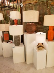 Earth tone lamps from Currey and Company at Las Vegas Market.