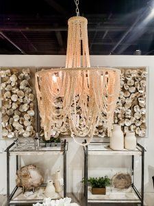 Love the organic vibes from this chandelier from Palecek at the Las Vegas Market.