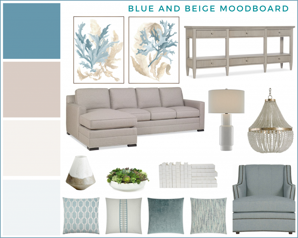 Make your own free moodboard in Canva. Here is a blue and beige moodboard for a living room.