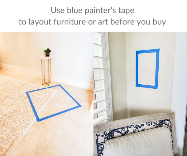 How you can use blue painter's tape to layout furniture before you buy