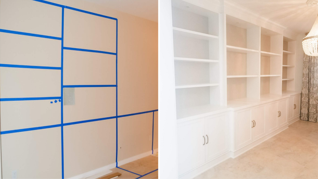 Use blue painter's tape to layout a custom built in so you can visualize the size