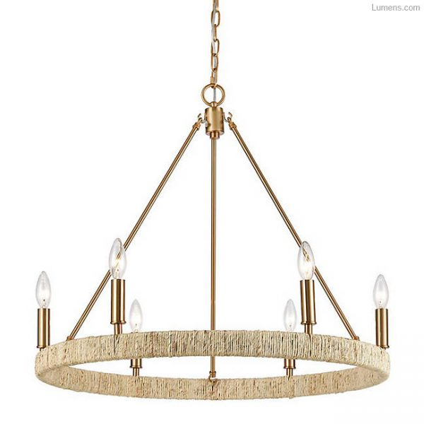 Coastal chandelier with rope details. Abaca chandelier by Elk Home.