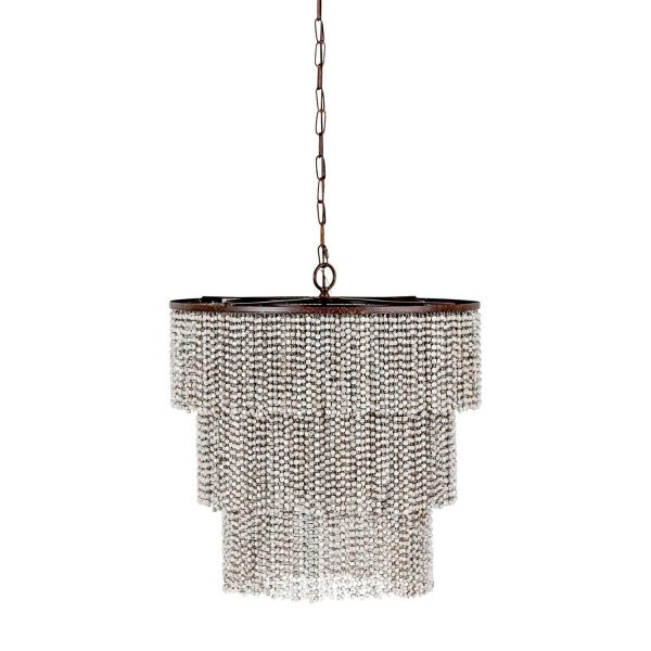 This coastal chandelier is dripping in wood beads. Etienne chandelier by Gabby Home.