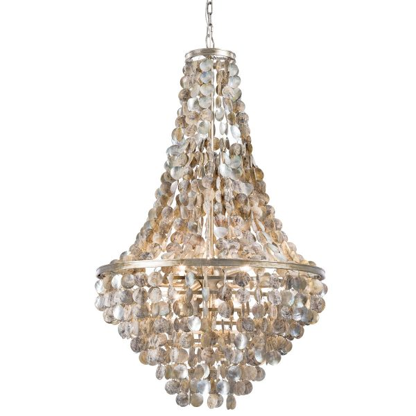 The Capri Abalone Shell chandelier from Regina Andrews is classic coastal thanks to the hand applied shells.