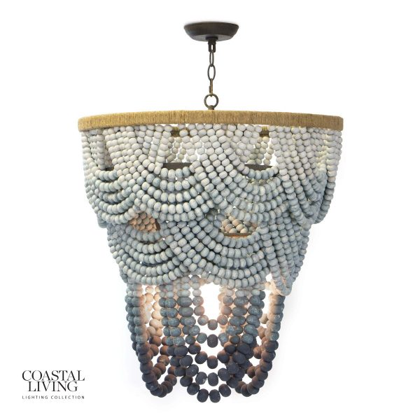 I love the classic draping beads on the Regina Andrews Wood Ombre dining room chandelier.  How amazing would this be in a coastal home?