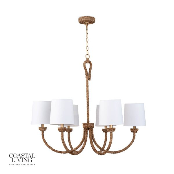 The Bimini coastal chandelier from Regina Andrews gives a subtle nod to coastal design with arms wrapped in rope.  A more traditional style for a coastal chandelier.