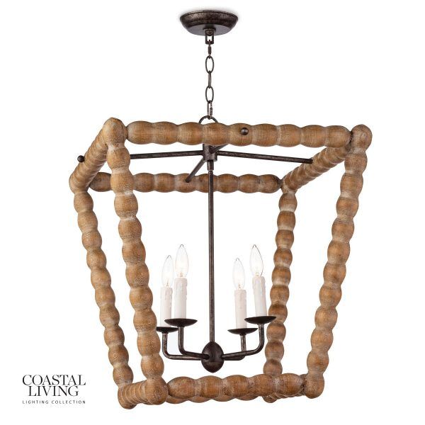 How amazing would two of these look over a kitchen island by the beach?  I love the wood carving and simple, classic look of the Regina Andrews Perennial pendant.