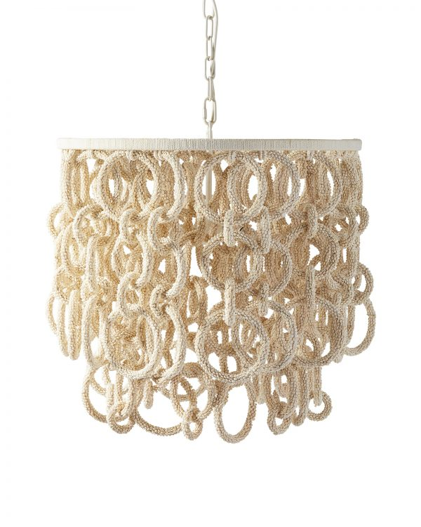 The nautical chains of the Del Sur chandelier from Serena and Lily are created from hand-strung coconut beads.  Be still my coastal heart.