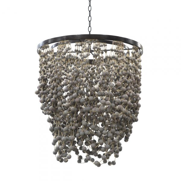 Palecek Layla dining room chandelier-perfect for coastal style with gray shades.