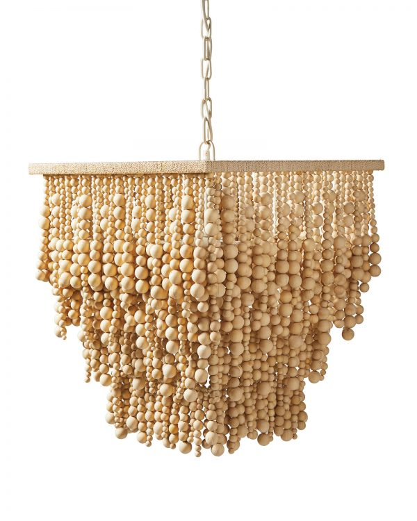 The Sorrel chandelier from Serena and Lily gives an organic, natural vibe to a coastal space.