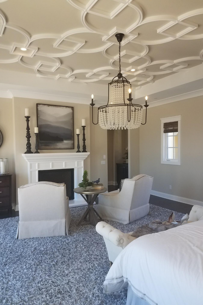 Decorative ceiling moldings-master bedroom