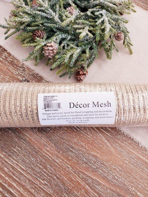 Deco mesh Christmas floral ribbon