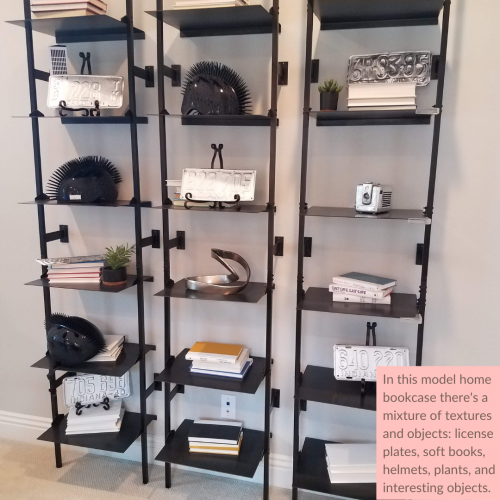 Add texture when you style a bookcase