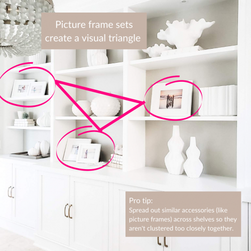 Spread out accessories to create a visual triangle