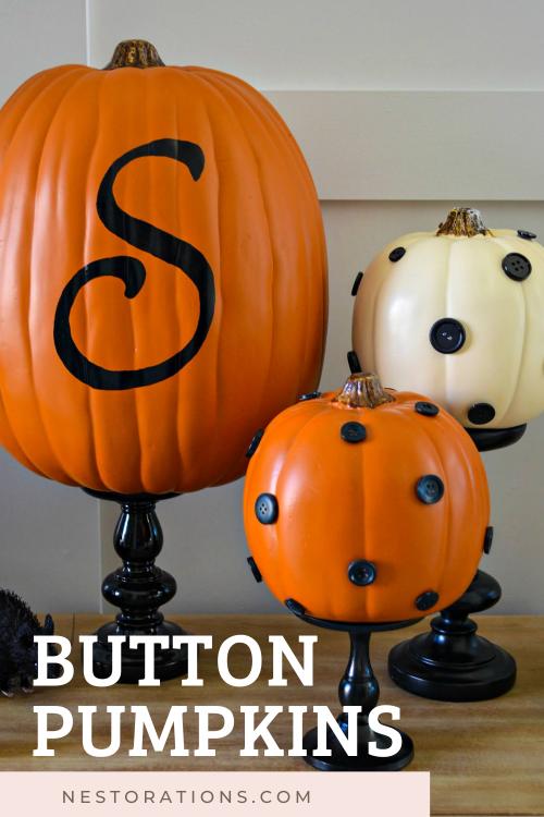 Easy fall craft--button pumpkins!