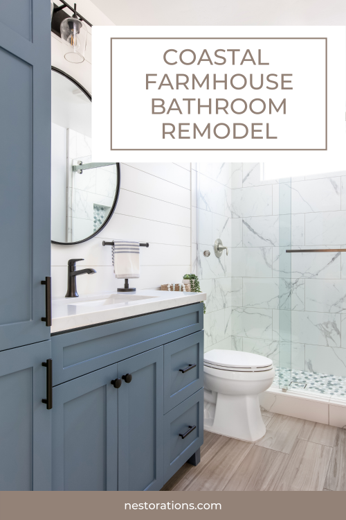 Modern Farmhouse Meets Coastal Style Bathroom